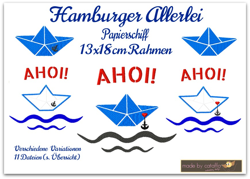 Papierschiff Stickdatei für Küstenliebhaber