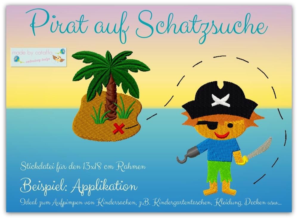 """Stickdatei """"Pirat auf Schatzsuche"""""""
