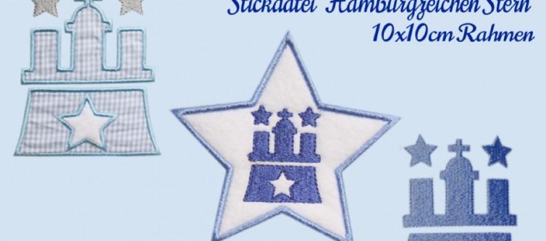 Stickdatei Hamburgzeichen mit Stern